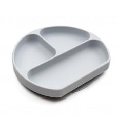 Silikona šķīvis ar nodalījumiem Grey