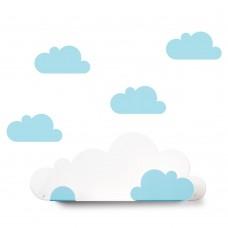 Plaukts Cloud un 4 zilas uzlīmes – mākonīši
